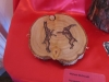 Pyrography fighting hares